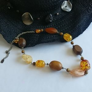 Youssi faux amber and wood BOHO necklace